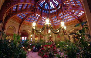 Winter Garden at the Biltmore, decorated for the holidays