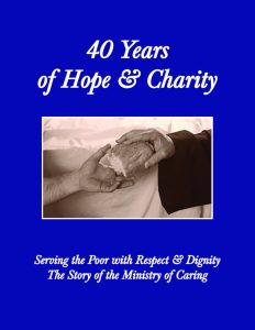 Cover of 40 Years of Hope & Charity depicting bread being passed from one person to another