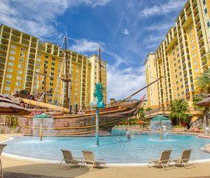 An outdoor resort pool
