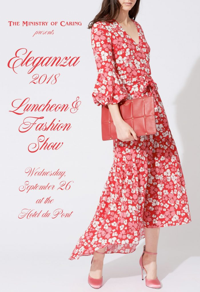 Woman in a stylish red floral dress with event information in fancy script