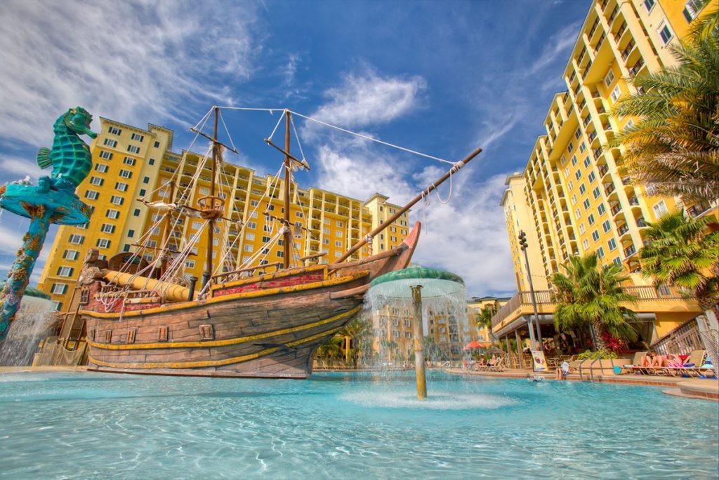 Pirate ship-themed pool at Lake Buena Vista Resort